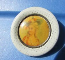 Button Antique Pictorial Victorian Steel Colonial Woman Pin Dot Fabric Picture