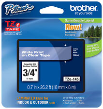 """Brother 3/4"""" (18mm) White on Clear P-touch Tape for PT2100, PT-2100 Label Maker"""