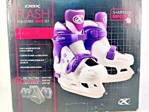 DBX FLASH Girls Purple White Adjustable Ice Skate Set SMALL Size 9-12k Used once