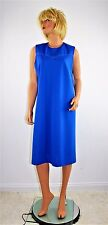 Vintage 60's 70's Blue Textured Polyester Double Knit Dress Size Large to XL