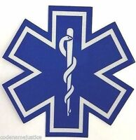 """STAR OF LIFE 2"""" x 2"""" EMS EMT PARAMEDIC Star of Life Highly REFLECTIVE Decal -"""