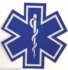 "STAR OF LIFE 2"" x 2"" Highly REFLECTIVE Decal - EMS EMT PARAMEDIC Star of Life"