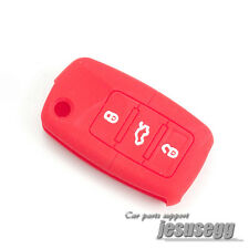 Red Silicone Remote Flip Key Cover FOB Case For VW Jetta Passat Tiguan Golf