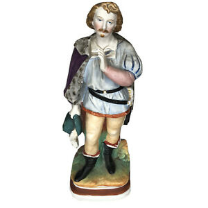 """Staffordshire Ceramic Statue Man With Hat And Cape 9"""" Figure"""