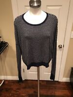 Eileen Fisher Blue/Gray Striped Drop Shoulder Sweater, Size XS