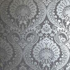 Luxus Damast Tapete IN Gunmetal Silber Von Arthouse 910307 - Blumen, Metallisch