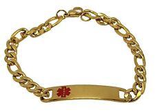 TYPE 2 Diabetes Medical Alert Engraved Stainless Steel Bracelet, 8 inch (GOLD...