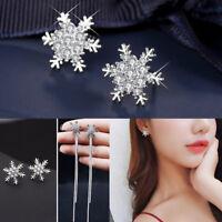 925 Silver Stud Earrings Snowflake Crystal Rhinestone Christmas Party Jewelry