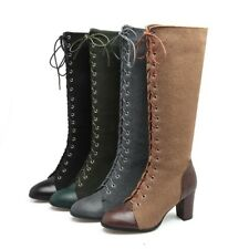 Women's Riding Boots Lace Up High Heels Knee High Boots Casual Shoes Round Toes