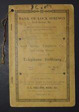 Vintage VERY RARE 1925 Lock Springs Missouri Telephone Exchange Directory