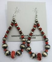 Sterling Silver Navajo Pearl Red Spiny Oyster Earrings Native American