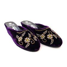 NEW JAPANESE COCUE WOMENS SIZE 6 EMBROIDERED PURPLE VELVET MULES WEDGE SHOES