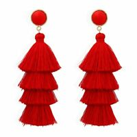 Long Red Tassel Earrings Dangle Long Drop Tassle Fringe Trendy Fashion Boho *UK*
