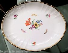 ANTIQUE KPM FINE PORCELAIN DRESDEN FLOWERS & BUTTERFLIES VEGETABLE SERVING BOWL