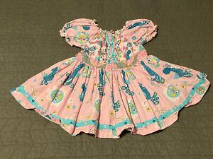 Jelly the Pug dress size 6 pink blue bird summer twirl ruffle dress