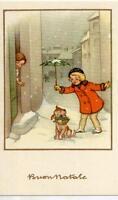 Serie Completa di 6 cartoline Bambini Ombrelli Cani Buon Natale PC Circa 1940