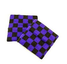 Unisex 2 Pack Black & Purple Check Checkered Pattern Wristband Sweatband  New