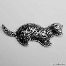 Ferret Pewter Brooch Pin - British Artisan Signed Badge- Mink Polecat Pinemarten