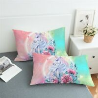 Pillowcases Set Of 2 Floral Unicorn And Roses Bedding Pillow Cover King & Queen
