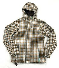 Burton Womens Ski Snow Board Winter Coat Size X Small Teal Houndstooth Plaid XS