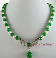 Charm, blanc,perles d'eau douce,vert,émeraude,pendentif,collier, 43cm
