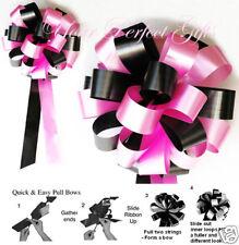 "CANDY PINK BLACK WEDDING 8"" PEW BOWS BRIDAL DECORATION"