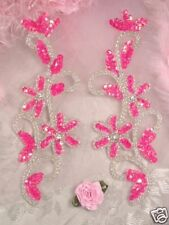 0396 ~ HOT PINK BEADED SEQUIN APPLIQUES MIRROR PAIR sewing craft motif 7""