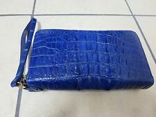 Genuine crocodile leather wallet (two zippers, blue color)