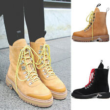 Hot Women Low Heel High Top Lace Up Ankle Suede Punk Martin Boots Casual Shoes