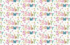 Unisex Baby Shower Gift Wrapping Paper with Hearts - 1 Sheet & 1 Matching Tag