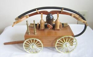VINTAGE HAND DRAWN WOOD WOODEN FIRE DEPT WAGON CART DEPARTMENT MODEL MADE FD NR