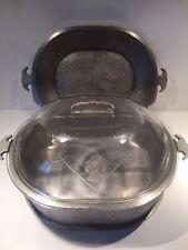 "Guardian Service Ware Aluminum 12"" Roaster Roasting Pan Glass Lid + Serving Tray"