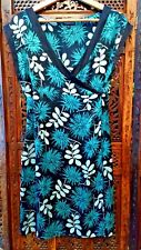 Warehouse Silk Dress Size 12 Blue Turquoise Black Floral Pattern Great Condition