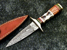 """Authentic HAND FORGED DAMASCUS 10.0"""" DAGGER KNIFE - CAMEL BONE HANDLE - WD-8337"""