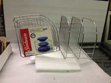 Sunbeam corner shelf Chrome plate rack shelving for plates and more 2 count