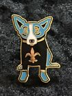 George Rodrigue Blue Dog New Orleans Saints Black Jersey Enamel Lapel Pin