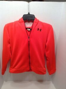Under Armour Bright Neon Orange Hoodie Youth Large Full Zip Graphic