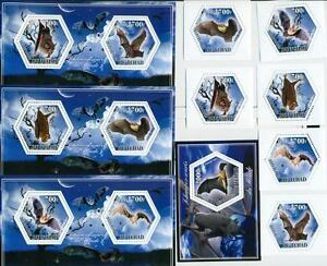 BATS animals SET 6 hexagon stamps + 4 s/s Tchad 2014 MNH #tchad2014-107s