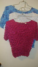 Blouse Lot 3 Blouses Crinkly Stretchy Dark Pink, White, Blue Stretch to Fit