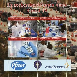 Madagascar Medical Stamps 2020 CTO Corona Search for Vaccine Health 4v M/S