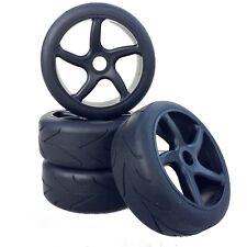 Buggy Tyres Wheels Set Virus Street with 5 - Spoke Wheels Black 1:8 4 Piece Part