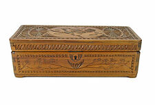 Antique Frisian Chip Carved Jewellery Box, Dutch.