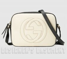 GUCCI white black leather SOHO Interlocking G cross-body DISCO bag NWT Ath $1190