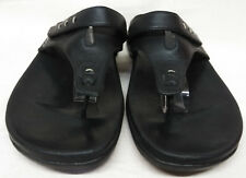 Clarks Size 9 M US Women's Black Leather Comfort Thong Flip Flops Sandals Shoes