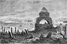 TURKEY - A CEMETERY in ERZEROUM in the 19th century -Engraving from 19th century