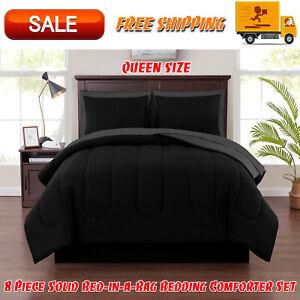 8 Piece Solid Bed-in-a-Bag Bedding Comforter Set with BONUS Sheets, Queen, Black