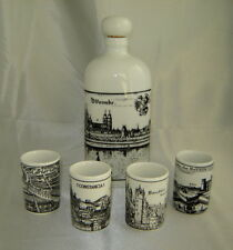 ALTENKUNSTADT Germany WORMS Porcelain Decanter w/ 4 Shot Glass Cups, City Scenes