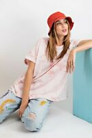 Easel Oversized Coral Pink Tie Dye Short Sleeve Top