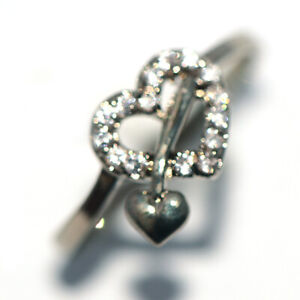 Anituqe Silver Retro Heart Crystal Rings Jewelry for Womens Girls Female size 8