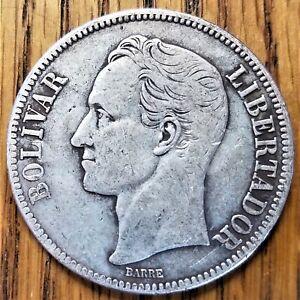 1936 Venezuela 5 Bolivares Very Fine+ Silver Coin